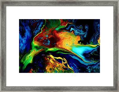 Abstract Art Modern Colorful Fluid Painting Bird Of Paradise By Kredart Framed Print