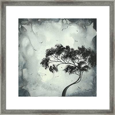 Abstract Art Original Black And White Surreal Landscape Painting Lost Moon By Madart Framed Print by Megan Duncanson