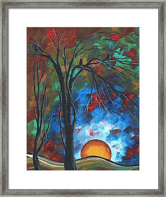 Abstract Art Original Colorful Bird Painting Spring Blossoms By Madart Framed Print by Megan Duncanson