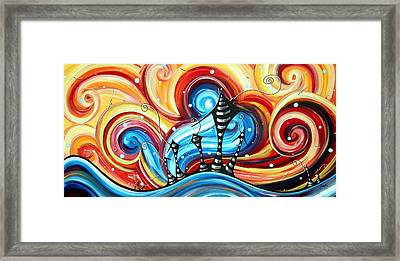 Abstract Art Original Colorful Funky House Painting Home On The Hill By Madart Framed Print by Megan Duncanson