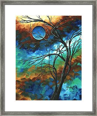 Abstract Art Original Colorful Painting Mystery Of The Moon By Madart Framed Print by Megan Duncanson