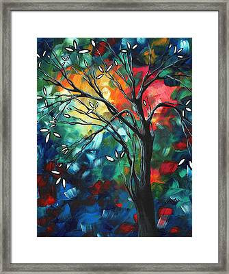 Abstract Art Original Colorful Painting Spring Blossoms By Madart Framed Print by Megan Duncanson
