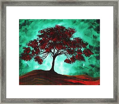Abstract Art Original Colorful Tree Painting Passion Fire By Madart Framed Print by Megan Duncanson