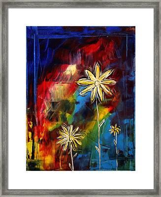 Abstract Art Original Daisy Flower Painting Visual Feast By Madart Framed Print by Megan Duncanson