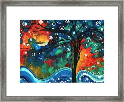 Abstract Art Original Landscape Colorful Painting First Snow Fall By Madart Framed Print by Megan Duncanson
