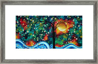 Abstract Art Original Landscape Painting Bold Circle Of Life Design Dance The Night Away By Madart Framed Print by Megan Duncanson