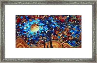 Abstract Art Original Landscape Painting Bold Circle Of Life Design Show Me The Way By Madart Framed Print by Megan Duncanson