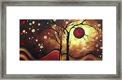 Abstract Art Original Landscape Painting Catch The Rising Sun By Madart Framed Print by Megan Duncanson