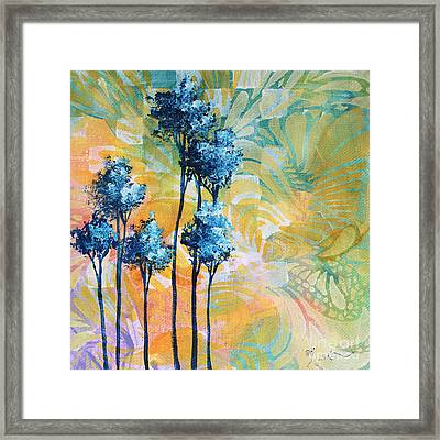 Abstract Art Original Landscape Painting Contemporary Design Blue Trees I By Madart Framed Print by Megan Duncanson
