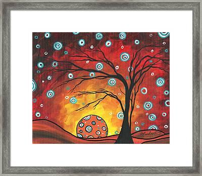 Abstract Art Original Landscape Painting Setting Sun By Madart Framed Print by Megan Duncanson