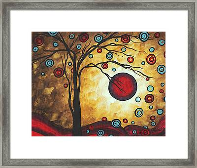 Abstract Art Original Metallic Gold Landscape Painting Freedom Of Joy By Madart Framed Print