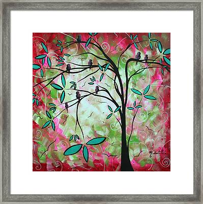 Abstract Art Original Whimsical Magical Bird Painting Through The Looking Glass  Framed Print by Megan Duncanson