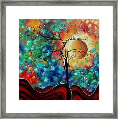 Abstract Art Original Whimsical Modern Landscape Painting Bursting Forth By Madart Framed Print