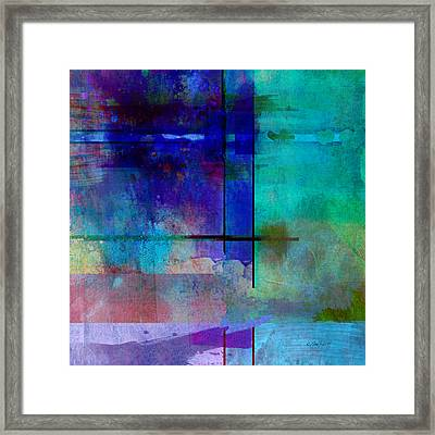 abstract-art-Rhapsody in Blue Square  Framed Print by Ann Powell