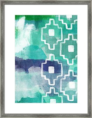 Abstract Aztec- Contemporary Abstract Painting Framed Print by Linda Woods