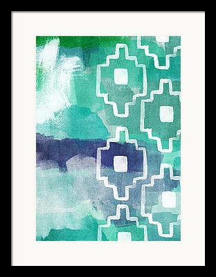 Blue And Green Abstracts Framed Prints
