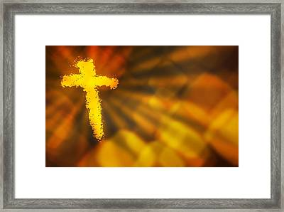 Abstract Background With A Fiery Cross Framed Print by Design Pics RF