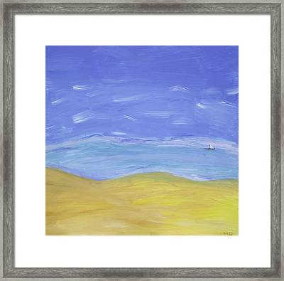 Framed Print featuring the painting Abstract Beach by Martin Blakeley