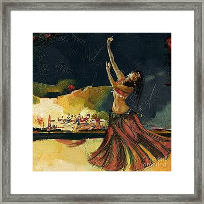 Abstract Belly Dancer 5 Framed Print by Mahnoor Shah