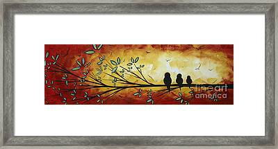 Abstract Bird Landscape Tree Blossoms Original Painting Family Of Three Framed Print by Megan Duncanson