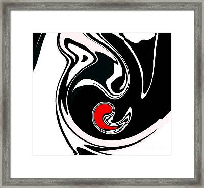 Abstract Black White Red Geometric Art No.384. Framed Print by Drinka Mercep