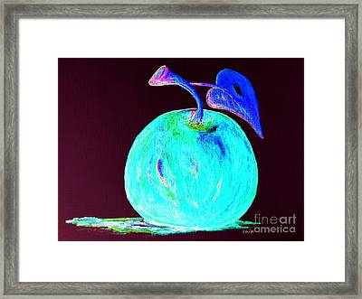 Abstract Blue And Teal Apple On Black Framed Print