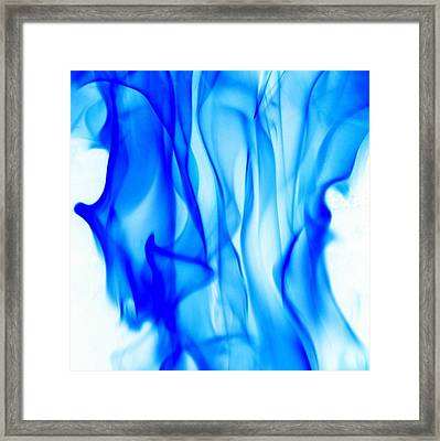 Abstract Blue And White Smoke Framed Print