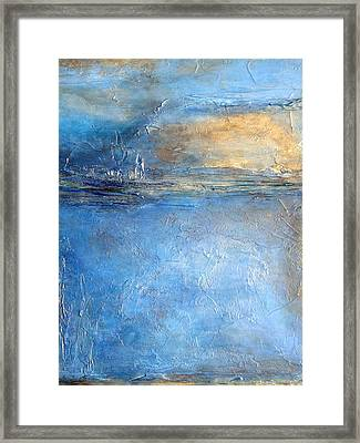Transcend Abstract Blue Brown And Gold Textured Painting  Framed Print by Holly Anderson