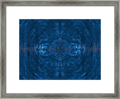 Abstract Blue Electric Circuit Future Technology_oil Painting On Canvas Framed Print by Nenad Cerovic