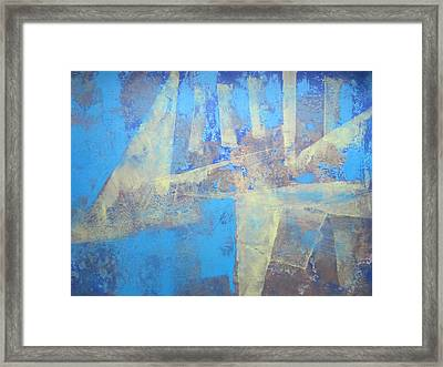 Framed Print featuring the painting Abstract Blue Landscape by John Fish