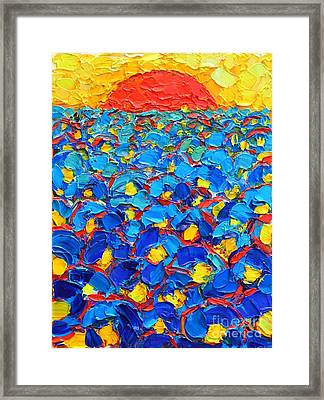 Abstract Blue Poppies In Sunrise -original Oil Painting Framed Print by Ana Maria Edulescu
