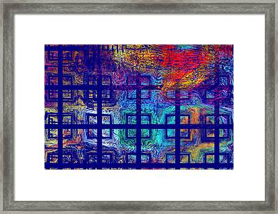 Abstract Blue Psychedelic Tiled Fractal Flame Framed Print by Keith Webber Jr