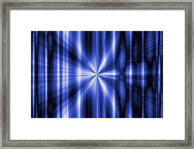 Abstract Blue Rays Background Framed Print by Somkiet Chanumporn