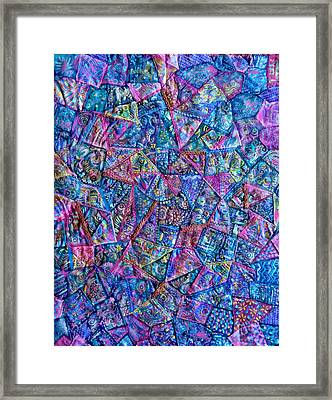 Framed Print featuring the digital art Abstract Blue Rose Quilt by Jean Fitzgerald
