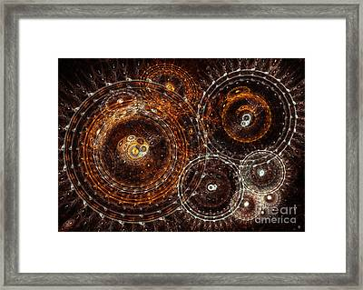 Abstract Bronze Circle Fractal  Framed Print
