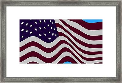 Abstract Burgundy Grey Violet 50 Star Flag Flying Cropped X 2 Framed Print