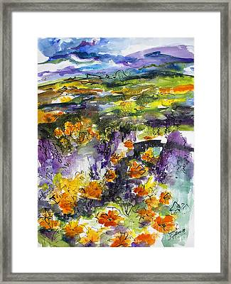Abstract California Poppies Framed Print