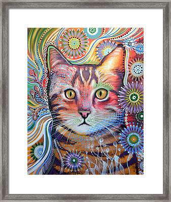 Abstract Cat Art ... Olivia Framed Print by Amy Giacomelli