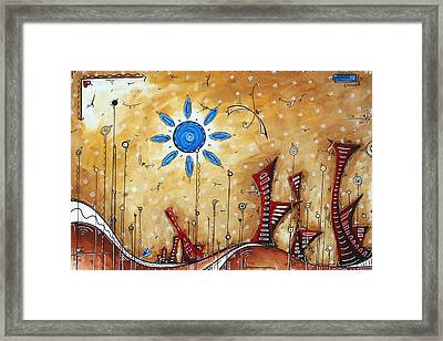 Abstract City Cityscape Contemporary Art Original Painting The Lost City By Madart Framed Print by Megan Duncanson