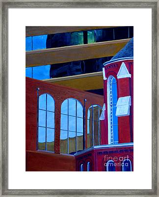Abstract City Downtown Shreveport Louisiana Urban Buildings And Church Framed Print by Lenora  De Lude