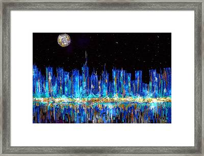 Abstract City Skyline Framed Print by Veronica Minozzi