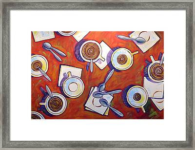 Abstract Coffee Art ... The Get Together Framed Print by Amy Giacomelli