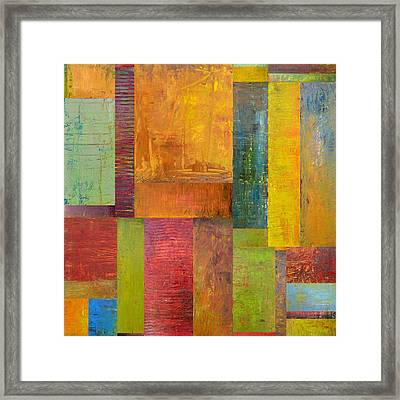 Abstract Color Study Collage L Framed Print by Michelle Calkins