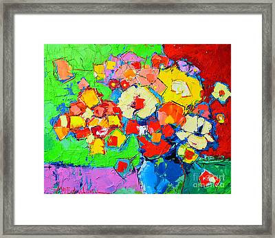Abstract Colorful Flowers Framed Print
