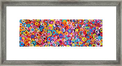 Abstract Colorful Flowers Triptych  Framed Print