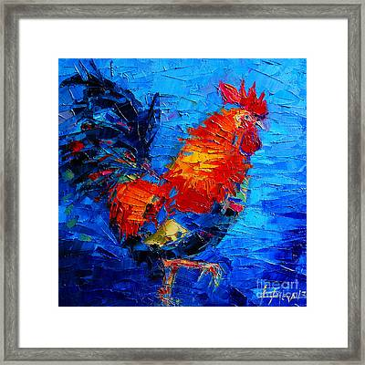 Abstract Colorful Gallic Rooster Framed Print by Mona Edulesco