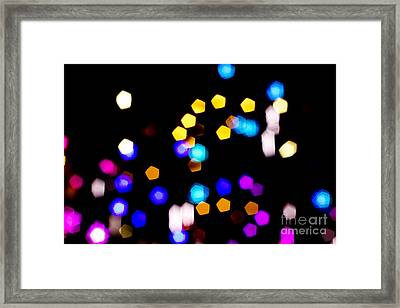 Abstract Colorful Pentagon Shaped Bokeh Lights Framed Print by Beverly Claire Kaiya