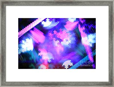 Abstract Colorful Snowflakes Bokeh Lights Framed Print