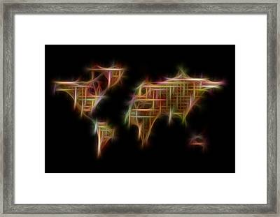 Abstract Colorful World Map Digital Fractalius Framed Print