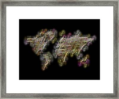 Abstract Colorful World Map Fractalius Framed Print